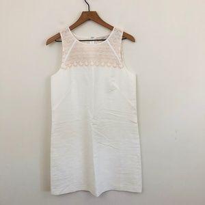 NWT! LOFT Scalloped White Cotton Shift Dress